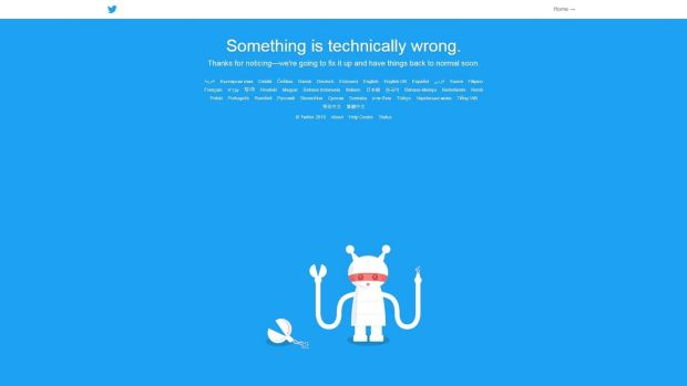 Twitter's homepage on Thursday evening, following reports of an outage