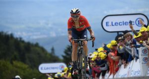 Belgium's Dylan Teuns pedals before crossing the finish line of the sixth stage of the 106th edition of the Tour de France. Photograph: Getty Images