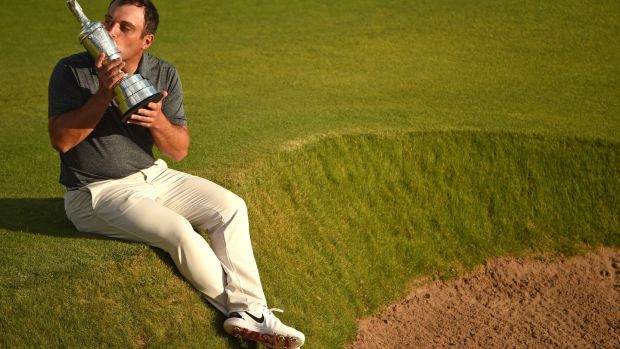 Italy's Francesco Molinari with the Claret Jug last year at Carnoustie. Photograph: Getty Images