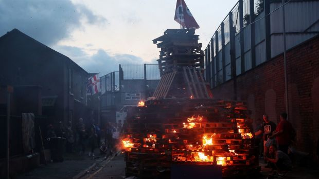 "The ""Eleventh night"" bonfire in Cluan Place, Belfast. Photograph: Brian Lawless/PA"