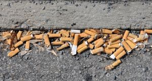 Cigarette litter is six times more prevalent than sweet wrapper litter. Photograph: Getty Images