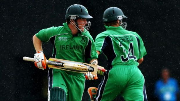 In action in the green of his native Ireland, Eoin Morgan. Photograph: Getty Images