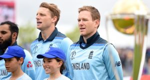 England's cricket captain, Ireland's Eoin Morgan, sings the anthem during the 2019 ICC Cricket World Cup. Photograph: Getty Images