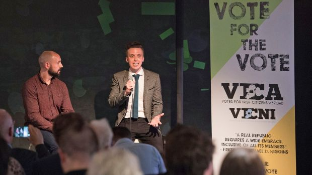 Vica members Alan Flanagan (L) and Ben Kelly speaking about the importance of the emigrant vote referendum. Photograph: Dave Meehan for The Irish Times.