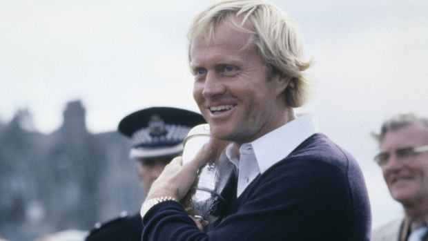 American golfer Jack Nicklaus cuddles the trophy after winning the British Open at St Andrews in 1978 Photograph: Bob Thomas Sports Photography via Getty