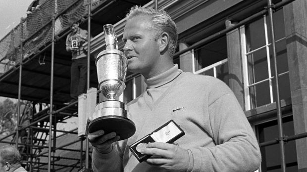 Jack Nicklaus celebrates with the Claret Jug after winning the Open. Photograph: Bob Thomas Photography/Getty