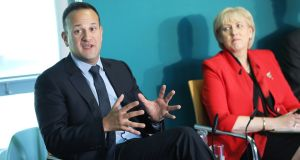 Taoiseach, Leo Varadkar and Minister for Business, Enterprise and Innovation, Heather Humphreys at the conference in the Aviva stadium in Dublin.