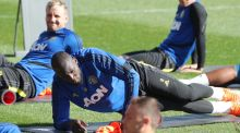 Romelu Lukaku of Manchester United during a training session at the WACA in Perth. Photo: Richard Wainwright/EPA