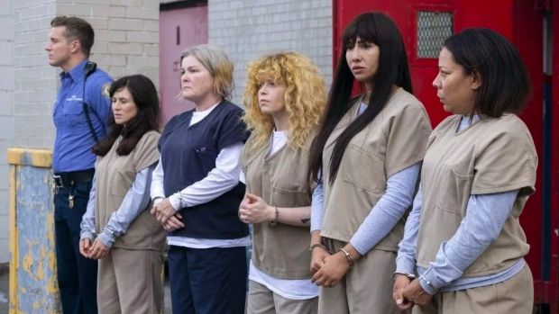 Kate Mulgrew (third from left) as Red in Orange Is the New Black, which returns to Netflix for its final season on July 26th