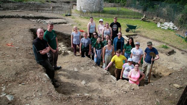 Irish National Heritage park manager Chris Hayes (far left) with Dr Denis Shine from the Irish Archeology Field School, and the group of interns including Jacqueline Turner; Ruairí Weiner; Sally Hurst; Gwyneth Evans, USA; Stephanie Zellers, USA; Christopher Chan, USA; Alyssa Cowan, intern, Canada; Georgia Blanch; Molly Crissell; Josephine Pawlicka; Katherine Ryan, Ireland; Hannah Hughes, Ireland; Elizabeth Valdovines, California; Ruth L Dorton, USA; Daphne Schigiel, USA and Clover Little. Photograph Nick Bradshaw/ The Irish Times