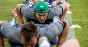 The Ireland rugby squad during their  open training session in  the Sportsgrounds, Galway. Photograph:  Morgan Treacy/Inpho
