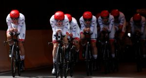 UAE Team Emirates with Ireland's Dan Martin, Jasper Philipsen of Belgium and Fabio Aru of Italy during the 27.6km team time trial  on July 7th. Photograph:   Reuters/Gonzalo Fuentes