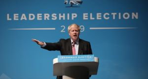 Boris Johnson onstage during the Conservative leadership hustings at Cheltenham Racecourse: Photograph: Dan Kitwood/Getty Images