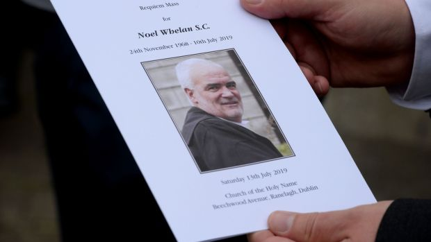 The funeral Mass booklet for political writer and barrister Noel Whelan whose funeral Mass was held in Ranelagh on Saturday. Photograph: Photograph: Alan Betson/The Irish Times