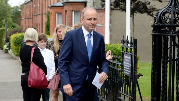 Micheál Martin, leader of Fianna Fáil at the funeral of Noel Whelan. Photograph: Alan Betson/The Irish Times