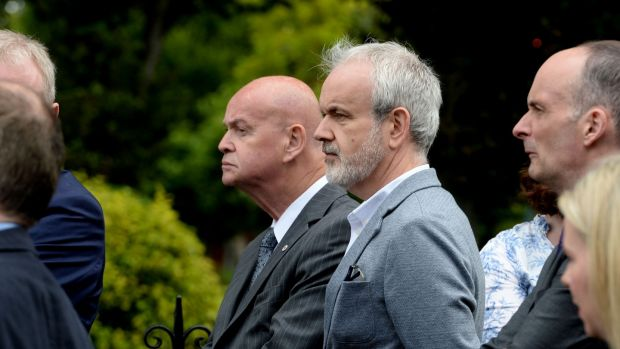 Pat Carey (L),former Fianna Fáil politician, and Colm O'Gorman, executive director of Amnesty International Ireland at the funeral of Noel Whelan. Photograph: Alan Betson/The Irish Times