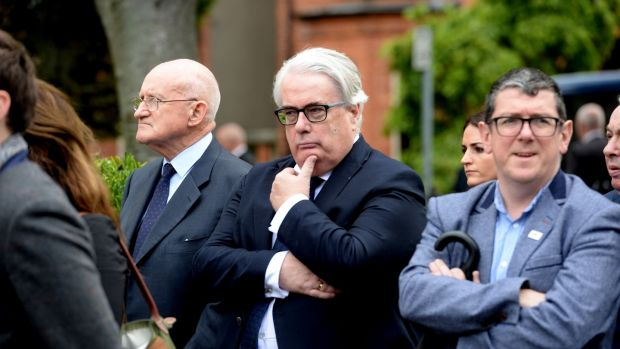 Dermot Gleeson (far left), former attorney general and Frank Clarke(C) , chief justice at the funeral of Noel Whelan. Photograph: Alan Betson/The Irish Times