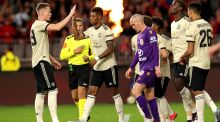 Marcus Rashford of Manchester United is congratulated by teammates after scoring the opener during the pre-season victory over Perth Glory. Photo: Richard Wainwright/EPA