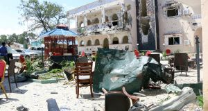 A view of Asasey Hotel after an attack, in Kismayo, Somalia. Photograph: AP Photo
