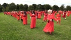 Kate Bush lookalikes perform 'Wuthering Heights' dance routine in Dublin