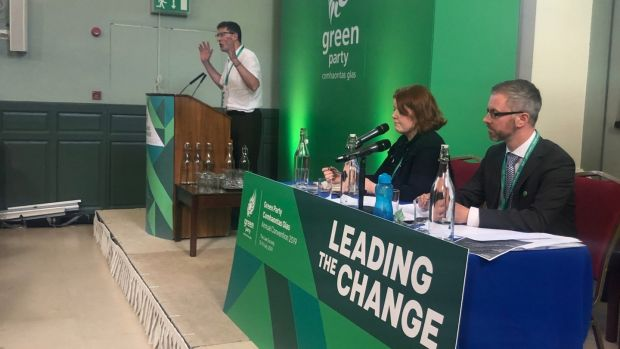 Green Party leader Eamon Ryan speaking at Dublin conference. Photograph: Harry McGee