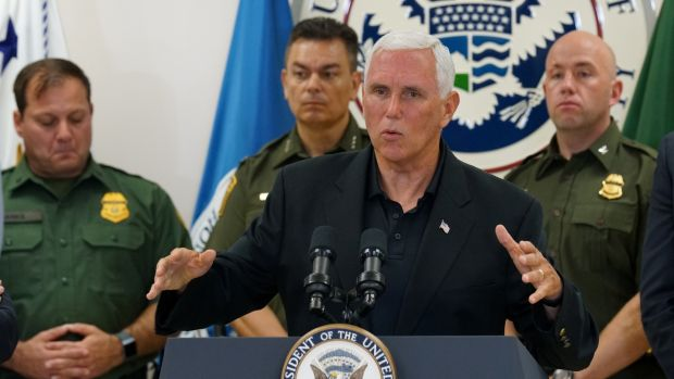 US vice president Mike Pence speaks during a press conference at the McAllen Border Patrol station in McAllen, Texas on July 12th. Photograph: Veronica G. Cardenas/Reuters