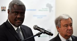 African Union Commission chairman Moussa Faki Mahamat  speaks at a joint press conference with UN secretary general António Guterres following the opening session of the African-Regional High Level Conference on counter-terrorism in Nairobi. Photograph: Tony Karumba/AFP/Getty Images