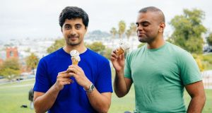 Ryan Pandya (left) and Perumal Gandhi of Perfect Day, the Cork-born biotechnology company has begun selling an ice cream free of animal products, which has been developed using a lab-grown protein
