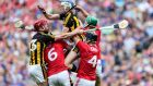 Kilkenny's TJ Reid and Adrian Mullen vie for the ball with Mark Ellis and Stephen McDonnell of Cork during their All-Ireland SHC quarter-final clash at Croke Park. Photo: Laszlo Geczo/Inpho