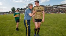 Kerry manager Peter Keane with midfielder David Moran after their victory over Mayo in Killarney. Photograph:  James Crombie/Inpho