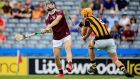 Galway's Paddy Cummins faces William Halpin of Kilkenny in the Minor Hurling Championship quarter-final group tie at Croke Park. Photograph: Gary Carr/Inpho