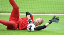 Simon Mignolet of Liverpool during a training session at Melwood. Photograph: Getty Images