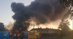 The fire occurred at the site on the Castletymon Road in Tallaght at 9.30pm on Sunday.