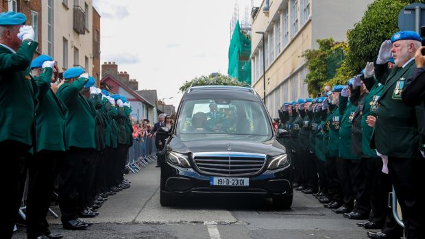 A guard of honour was formed for the funeral procession at The Church of St Nicholas of Myra. Photograph: Maxwell Photography