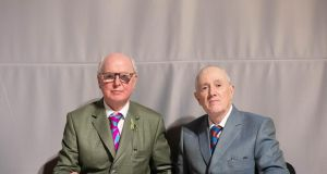 Gilbert & George at the Fondation Louis Vuitton in Paris. 'They don't want to let us go back to the hotel for a rest. I've found a way to deal with this. Now, I say, would you mind? You see, we have to masturbate.'  Photograph: Jean Picon