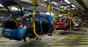 Sales of French car-maker PSA fell 12.8%  in the first half of the year. Photograph: Jackie Naegelen/Reuters