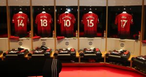 Manchester United jerseys in the dressing room ahead of their Premier League clash with Manchester City last season. Photo: John Peters/Manchester United via Getty Images