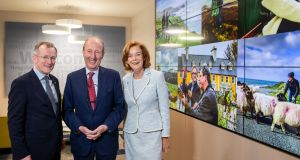 Tourism Ireland CEO Niall Gibbons, Minister for Tourism Shane Ross and Joan O'Shaughnessy, chairman of Tourism Ireland. Mr Ross said the figures for 2019 to date have been excellent given the uncertainty in the global economy. Photograph:   Keith Arkins