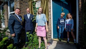 Commemorative plaque at  former home of Countess  Markievicz in Rathmines. L-R, Lord Mayor  Paul McAuliffe,  Charles and Olivia Crichton-Stuart,  great grandniece of  Markievicz, and their children Angus (9) and Amelia (7). Photograph: Tom Honan