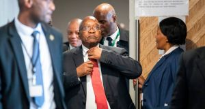 Former South African president Jacob Zuma arrives at the Commission of Inquiry into State Capture on Monday in Johannesburg. 'I have been vilified, alleged to be the king of corrupt people.' Photograph: Wikus de Wet/AFP/Getty Images