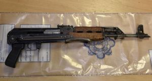 Part of firearms cache recovered in raid on fake business in Rathcoole, Co Dublin, in 2017.