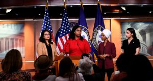 US representatives Ayanna Pressley speaks as, Ilhan Omar, Rashida Tlaib  and Alexandria Ocasio-Cortez look on  during a press conference to address remarks made by  Donald Trump. Photograph: Getty Images