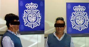 This man was detained at Barcelona's El Prat airport allegedly carrying 500g of cocaine hidden under a wig. Photograph: Spanish National Police.