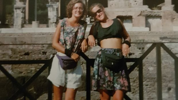 Arlene Harris with a friend in Rome