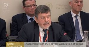 FAI president Donal Conway giving evidence at the Joint Committee on Transport, Tourism and Sport in April. Photograph: PA