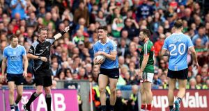 Dublin's Diarmuid Connolly wins a late free which Dean Rock converted to seal victory in the 2017 All-Ireland final against Mayo. Photograph: Ryan Byrne/Inpho