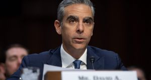 David Marcus, head of Calibra at Facebook, testifies about Facebook's proposed digital currency called libra, during a Senate banking committee hearing on Tuesday.  Photograph: Saul Loeb/AFP/Getty Images