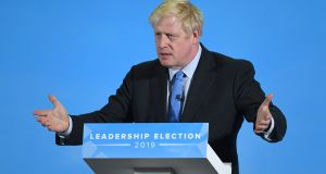 Conservative Party leadership candidate Boris Johnson during a Tory leadership hustings in Colchester, Essex.  Photograph: Joe Giddens/PA Wire