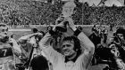 Maier holds the World Cup Trophy after West Germany's 2-1 victory over Holland in the 1974 World Cup Final at the Olympic Stadium in Munich. Photograph: Keystone/Getty Images