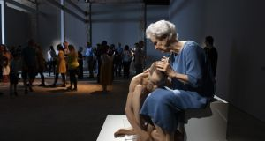 Woman and Child by Sam Jinks, in  a temporary gallery space on the site of the GPO in Galway.  Photograph: Andrew Downes/xposure